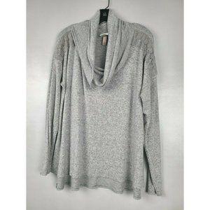 Knox Rose Tunic XL Gray Long Sleeve Cowl Neck Top